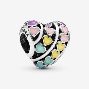Pandora Rainbow Hearts Charm